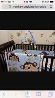 Monkey crib bedding