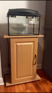 Small fish tank and wooden stand for sale
