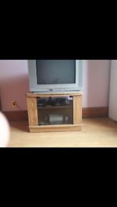 Solid Oak Rotating TV Stand