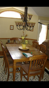 Bar height dining table and 6 chairs