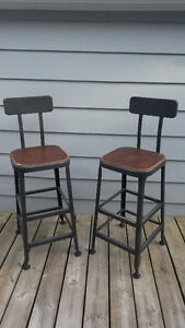 Pair of Modern Industrial Bar Stools Restoration Hardware Style