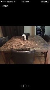 Full high top granite dining room table! 4 chairs  Cambridge Kitchener Area image 2
