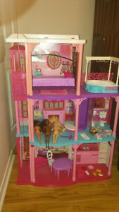 Barbie Dream House with Elevator, Barbies and Furniture