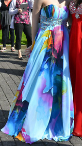 Water colour prom dress