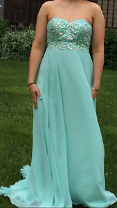 Teal Prom Dress with corset back