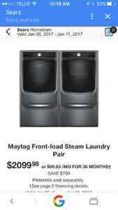 Have I got a deal for you brand new maytag washer dryer