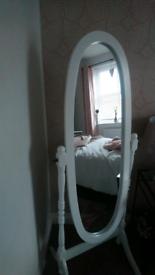 White OVAL Cheval Mirror