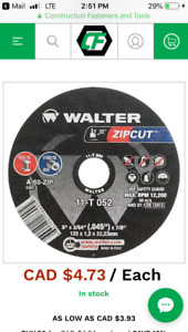 "Walter 5"" zip cuts and grinding discs for sale"