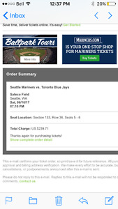 Toronto Blue Jays June 10th in Seattle
