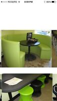 Sweet Green Leather Sectional Booth