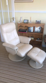 Leather Reclining Chair (Lounger) + Footstool