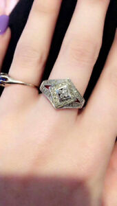 selling 10k sun stamped white gold engagement ring