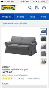 IKEA Ektorp Nordvalla Grey Loveseat Sofa