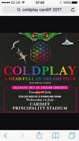 2 tickets coldplay 11th july cardiff
