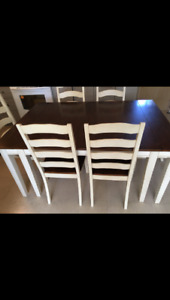 Pine wood White Rustic Dining set and Buffet