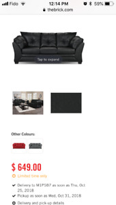 Faux Leather Couch-black