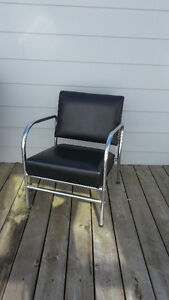 Vintage Black Vinyl n Chrome Reclining Mid Century Lounge Chair