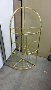 brass look plant stand and magazine rack