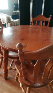 Older solid pine table and buffet
