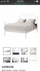 Queen size bed frame white color