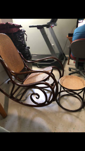 Vintage Bentwood Rocking Chair and Side Table