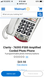 Clarity P300 corded phone amplified for hearing and vision