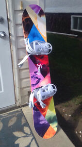 Womans snowboard and equipment