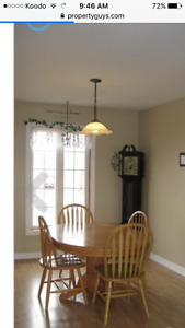 Wood Dining room set with four chairs