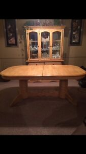 Solid Maple table and hutch (no chairs)