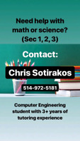 Tutor for HighSchool in Math & Science for Sec 1,2&3