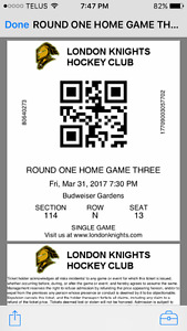 Two tickets London Knights Playoff Round 1!