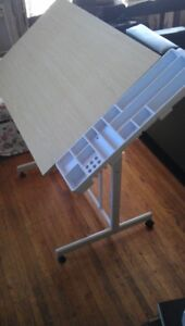 Artist's Drafting Table: Sturdy, Slide Compartment Drawer, Tray