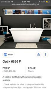 Max optic free standing bathtub