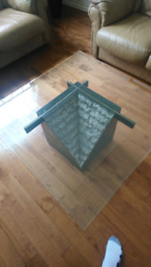 Glass coffee table and living room table, $50