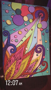 ABSTRACT ART GOUACHE PAINTING 25x35 INCHES