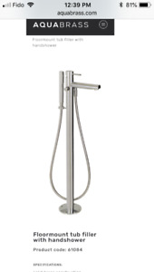 Aquabrass Floor mount Chrome Tub Filler with Hand shower 61084