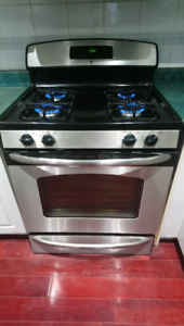 Stainless Steel Gas Range & Microwave with exhaust for sale