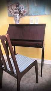 ANTIQUE SECRETARY DESK with A CHAIR