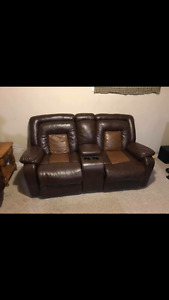 Leather couch set