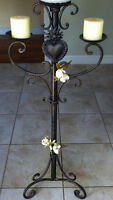 Cast-iron floor candle holder