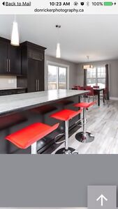 4 modern red bar stools