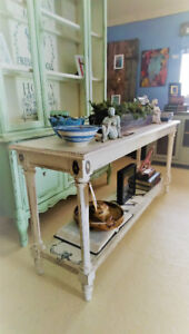 LONG HALL TABLE, SOFA TABLE, REFINISHED, COUNTRY FARMHOUSE STYLE