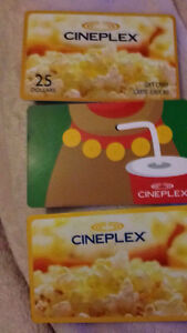 CINEPLEX 100$ worth of giftcards