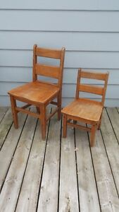 Antique Solid Oak Wood Classic School Chairs Adult and Childrens