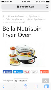 I am looking for Bella Nutrispin fryer oven accessories.