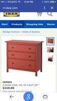 Hemnes red Chest of Drawers - Ikea