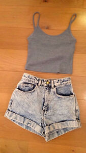 American Apparel High-Waist Cuff Short size large 12-14!!