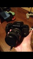 Pentax SF-1 3.5mm film camera, with case and lens