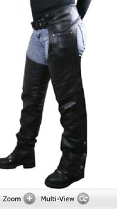 Ladies motorcycle leather riding chaps