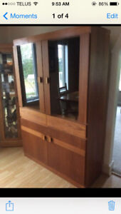Large Teak wood display cabinet with smoked glass /accent light